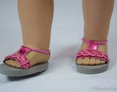 "18/"" Doll Braided Sandals fits 18/"" Doll Sandals Pink Blue White Brown Green"