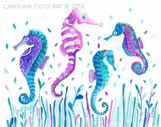 Ok. Done done 👍 #carolinacotoart #seahorse #seahorses #seahorsepainting #thatsdarling #smartcreativeart #dsrainbow #dscolor #pursuepretty #sealife #sealifepainting #makersgonnamake