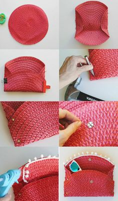 Diy bags 617204323911030419 - Trash To Couture: DIY Wicker Purse From Placemat Source by karinegfeller Trash To Couture, Diy Purse Making, Pochette Diy, Diy Clutch, Clutch Purse, Wicker Purse, Diy Bags Purses, Diy Handbag, Handmade Bags