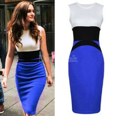 Celeb Style Splicing Color Ladies Evening Slimming Dress