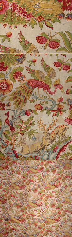 Antique Indian Textile, probably Coromandel Coast. Cotton Block Print 1800 - 1820 A. Indian Textiles, Indian Fabric, Vintage Textiles, Fabric Wallpaper, Pattern Wallpaper, Fabric Art, Linen Fabric, Top Image, Chintz Fabric