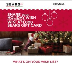 #SearsUnderthetree,  SHARE YOUR HOLIDAY WISH FOR A CHANCE TO WIN* A $1,000 SEARS GIFT CARD Contests Canada, Thing 1, Holiday Wishes, Twitter, Cards, Gifts, Instagram, Favors, Playing Cards
