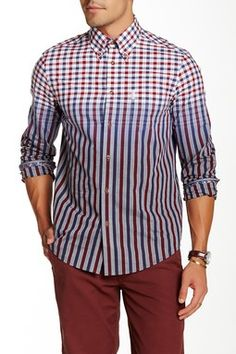 Engineered Check Stripe Long Sleeve Regular Fit Shirt