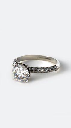 14K White Gold Pave Knife Edge Lotus Basket Engagement Ring