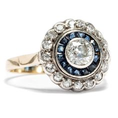 Diamanten und Saphire des Jugendstil: Antiker Diamant Ring 585 Gold um 1900