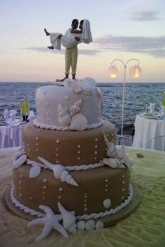 Beach Wedding African American Cake Topper Now that's a beach wedding cake, brown sugar sand & sugar shells, ya mon… Beach Wedding Reception, Beach Wedding Decorations, Wedding Vows, Beach Wedding Cakes, Beach Wedding Cake Toppers, Seaside Wedding, Fruit Wedding, Wedding Readings, Wedding Country