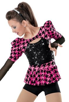 """Black Sequined Bodice and Houndstooth Patterned Shrug and Peplum Skirt with Black Mesh Sleeves - """"Popular"""""""