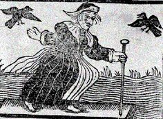 Medieval witch with her crow familiars. In the Middle Ages, demons or familiars in the forms of owls or crows supposedly attended witches, accompanying them on their broomstick flights and carrying out their evil commands.