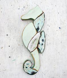 Mosaico de Caballito de mar decoración náutica Boho por woodenaht