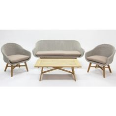 Layla 4 piece lounge setting natural acacia with white rattan