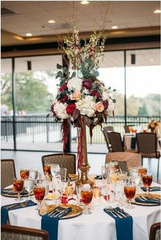 Burgundy and Blush Wedding Centerpiece / http://www.deerpearlflowers.com/burgundy-and-navy-wedding-color-ideas/2/