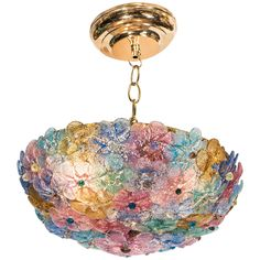 Midcentury Barovier & Toso Multicolor Glass Flush Fixture | From a unique collection of antique and modern flush mount at https://www.1stdibs.com/furniture/lighting/flush-mount-ceiling-lights/
