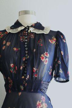 RESERVED 1930s Floral Dress / Vintage 30s by SavvySpinsterVintage