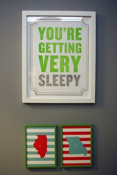 nursery wall art...  I like the stripes but in different colors!