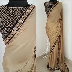 Stylish gold blouses for sarees Head over to the internet site to see more on . Trendy Sarees, Stylish Sarees, Fancy Sarees, Indian Attire, Indian Outfits, Indian Dresses, Indian Wear, New Dress Design Indian, Cutwork Saree