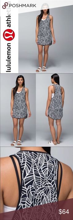NWT Lululemon Coastal Dress ✔️Brand New With Tags! ✔️Perfect Cover-Up ✔️Racer Style Back ✔️Black and White Leafy Pattern lululemon athletica Dresses