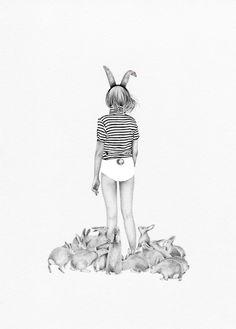 Rabbits and Stripes by Caroline Morin - L'Affiche Moderne