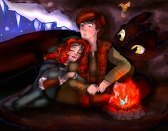 Merida sleeping on Hiccup in a cave with him and Toothless. Love this couple.