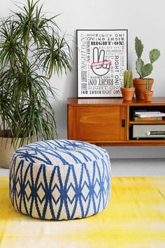 Wool Round Pouf | Urban Outfitters