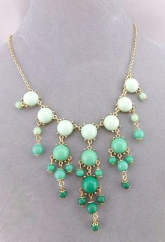 Two Tone Green Bubble Drop Bib Necklace Gold Fashion Jewelry NEW #Iconcollection