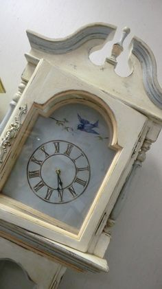 Hand Painted Grandfather Clock Bird & Nest by LuckyMeVintage, $295.00