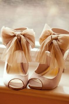 She is so Chic! :: Drama Heels:: Vintage Fashion:: Retro Style:: Heels with Chiffon Bow Straps-- In Love