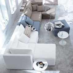 gorgeous colour palette for the contemporary living room - white, soft Nordic grey and pale taupe