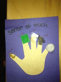 5 senses craft- all different textures etc on each finger (sand, foil, etc)