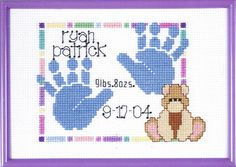 A pretty birth sampler with the baby's name, date of birth and birth weight with a cute teddy and a colourful border, there is the choice of blue or pink handprints.