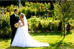 Bride and groom in the gardens at Zukas Hilltop Barn.