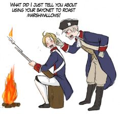 Hetalia- America and Prussia during the Revolution  Des-Chan ~ it looks like young america still learning