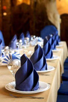 Blue wedding napkins