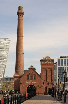 The Pumphouse at historic Albert Dock in Liverpool. The landmark includes a maritime museum, ferris wheel, Beatles exhibition, pub and great views of the River Mersey.