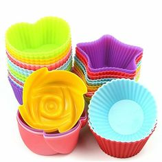 HENGRUI Silicone Cupcake Liners, Nonstick Silicone Cupcake Baking Cups, Heat Resistant Egg Tart Molds, Reusable Stick Cake Molds Sets for Making Muffin Chocolate Bread Chocolate Muffins, Chocolate Molds, Chocolate Cupcakes, Donut Baking Pan, Baking Cups, Silicone Cupcake Liners, Cooking Stone, Colorful Cakes, No Bake Treats