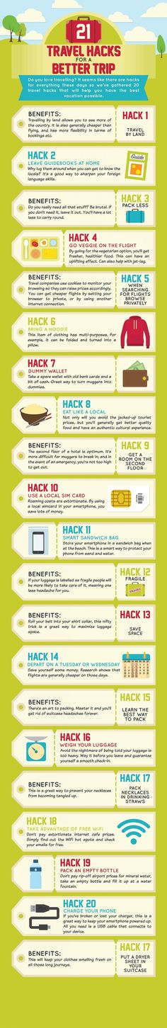 Ways to Make Your Next Family Vacation a Whole Lot Easier Infographic: 21 Useful Travel Hacks For A Better Trip - http://DesignTAXI.com