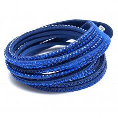 "Beka & Bell Wickelarmband ""Kristall"" - Blau"