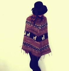 Vintage 1970s Alpaca Wool Poncho Big Imports Made in Peru Brown Southwestern Knit Sweater Fall Outerwear Coat Boho Hipster SoCal