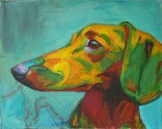 """Saatchi Online Artist Stefan Petrunov; Painting, """"Portrait"""" #art #dachshund #dog"""