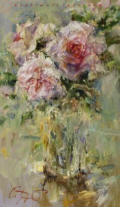 Painting «bouquet of roses Oil Painting Flowers, Abstract Flowers, Impressionist Paintings, Art Paintings, Beautiful Paintings, Painting Inspiration, Flower Art, Art Drawings, Fine Art