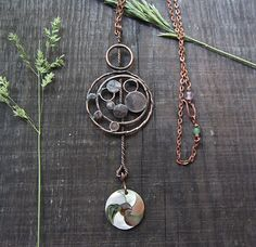 Copper Pendant Mother-of-Pearl  Pendant Statement by MaryBulanova