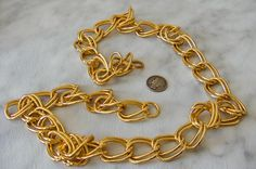 Vintage Gold Double Link Chain Necklace    30 Inch  Retro Style by GemstoneCowboy on Etsy