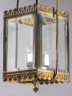 """Circa 1890, Hall Gas Harp with Beveled Glass---  ... 3 - porcelain sockets  ... Can be used outside if covered over  ... 30"""" drop x 81/2"""" x 6 1/2""""   ... Drop can be adjusted if desired.   ... Available: 1   ... $ 1625.00"""