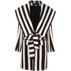 Balmain striped coat ($4,805) ❤ liked on Polyvore featuring outerwear, coats, jackets, balmain, black, stripe coat, mid length coat, long sleeve coat, belted coat and balmain coat