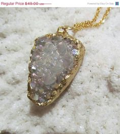 SALE Aura Opal Druzy Pendant dipped in gold by YaronaJewelryDesign, $41.65