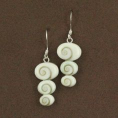 Sterling Silver Shiva Shell Three Side Oval Graduated Dangle Earrings $79.50