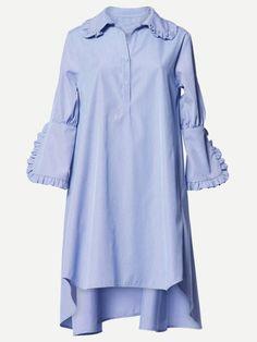 Frill Trim Dip Hem Shirt Dress -SheIn(Sheinside)