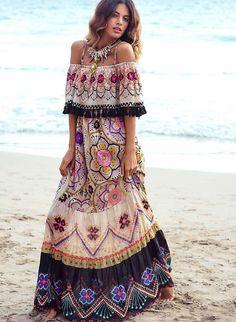 Adorable colorful off shoulders boho long summer dresses