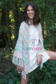 Crochet Coat, Crochet Clothes, Crochet Fashion, Kimono Top, Cover Up, Clothes For Women, Knitting, Tops, Dresses
