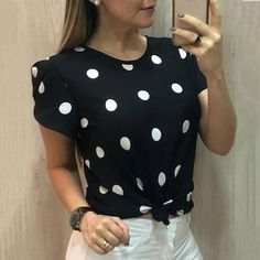 Women Clothing Summer Polka Dot Sexy O Neck Short Sleeve Shirt Office Ladies Plus Size Elegant Streetwear Blouse Trendy Tops For Women, Blouses For Women, Ladies Blouses, Classy Outfits, Trendy Outfits, Sewing Blouses, Summer Outfits Women, Women's Summer Fashion, Casual Shirts
