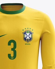 Soccer Kit With Long Sleeve Mockup / Front View. Preview (Close-Up)